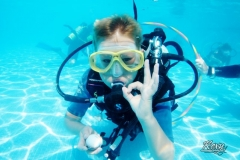 children scuba diving